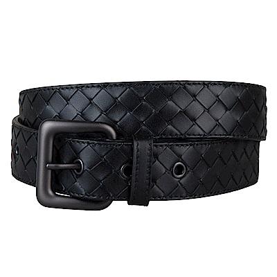 BV BOTTEGA VENETA 經典小牛皮手工編織造型五孔皮帶(黑)
