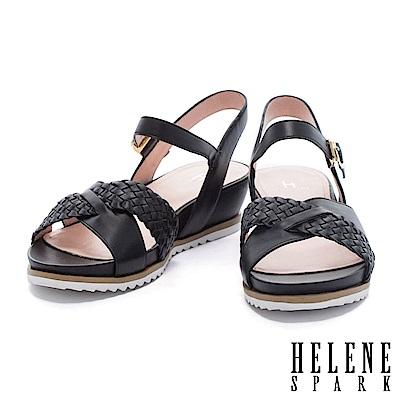 涼鞋 HELENE SPARK 度假編織條交叉字帶牛皮楔型高跟涼鞋-黑