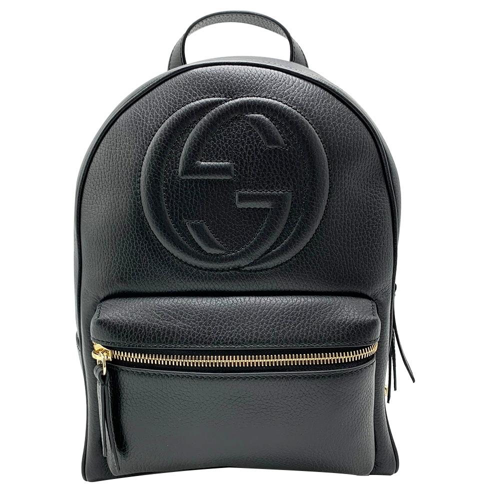 GUCCI 經典GG logo Soho牛皮金鍊後背包(536192-黑)
