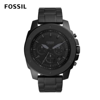 FOSSIL Mega Machine 粗曠不羈男錶 黑色不鏽鋼錶帶 50MM FS5717
