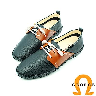 【GEORGE 喬治皮鞋】舒活系列 素面縫線綁帶黑面懶人鞋平底鞋-紅