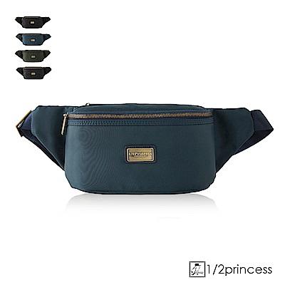 1/2princess高磅防潑水尼龍休閒二用斜側胸包腰包-深藍[A2781](快)