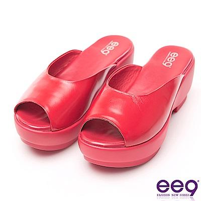ee9 經典素面百搭魚口露趾楔型跟拖鞋  紅色