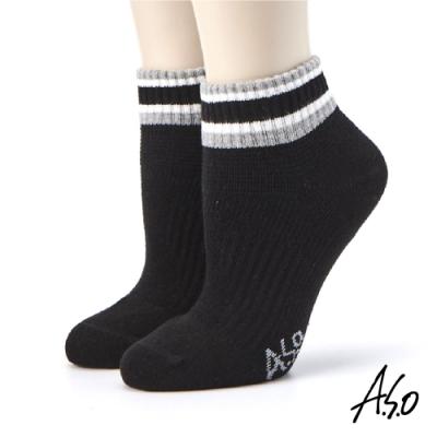 A.S.O長效抑菌系列-襪口條紋短襪-黑色