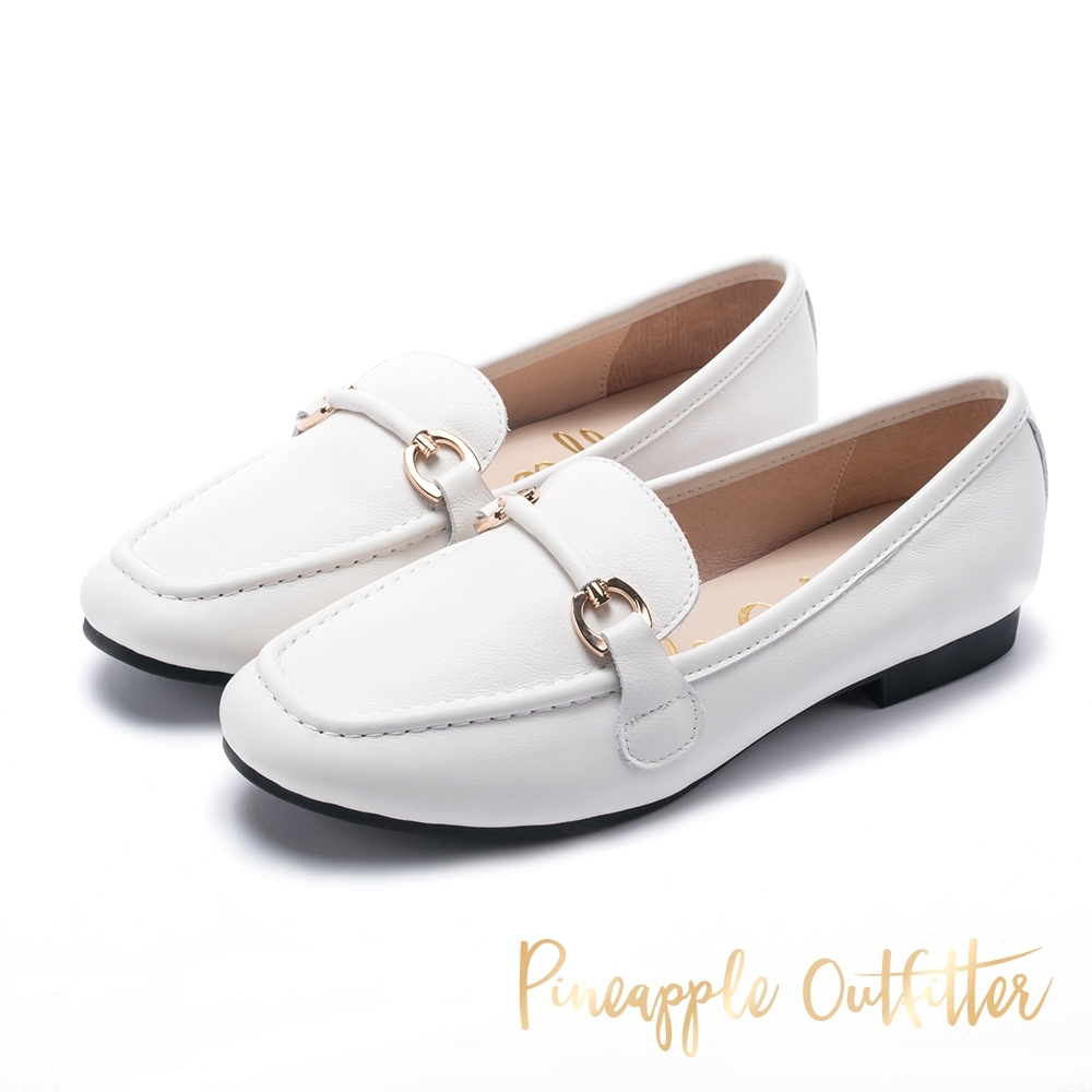 Pineapple Outfitter 經典金屬環扣真皮樂福鞋-白色