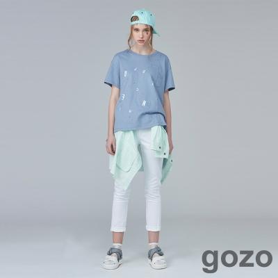 gozo輕鬆夏日色調窄管褲(二色)-動態show