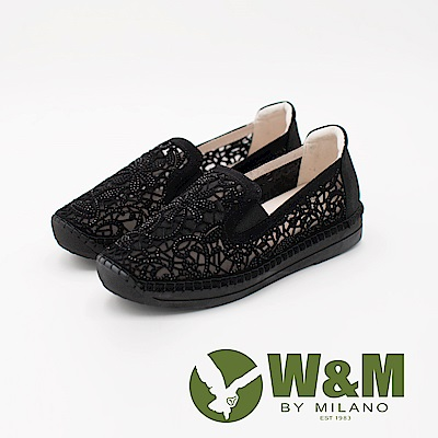 W&M 法系優雅 花朵簍空鑲鑽休閒 女鞋-黑(另有金)