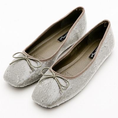 River&Moon韓版小朵結亮片方頭芭蕾娃娃鞋*綠