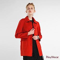 KeyWear奇威名品    經典翻領長袖大衣-橘紅色
