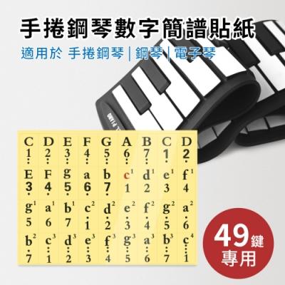 49鍵數字簡譜貼紙(適用於49鍵手捲鋼琴 電子琴 電鋼琴 鋼琴)