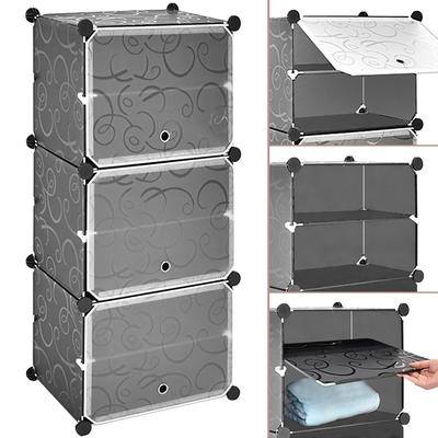 六層6格DIY簡易鞋櫃+3大門片 (宿舍矮櫃鞋架/家門口鞋盒子/魔片衣櫥收納櫃/百變衣櫃收納架/塑料書櫃置物架/儲物置物櫃/玩具組合櫃組合架/夾層收納箱置物箱)