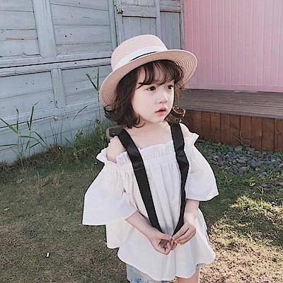 小衣衫童裝  女童夏季仙氣一字領緞帶肩寬中袖上衣1080201