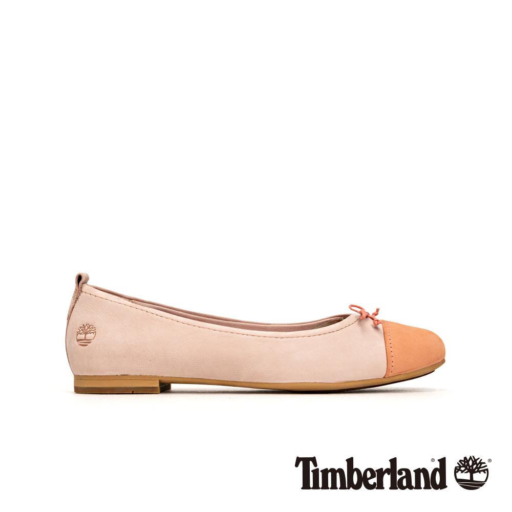 Timberland 女款淡粉色磨砂革撞色芭蕾舞鞋|A1XGG