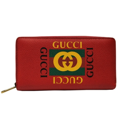 GUCCI 復古風格小牛皮綠紅綠織帶標誌長夾(紅色)