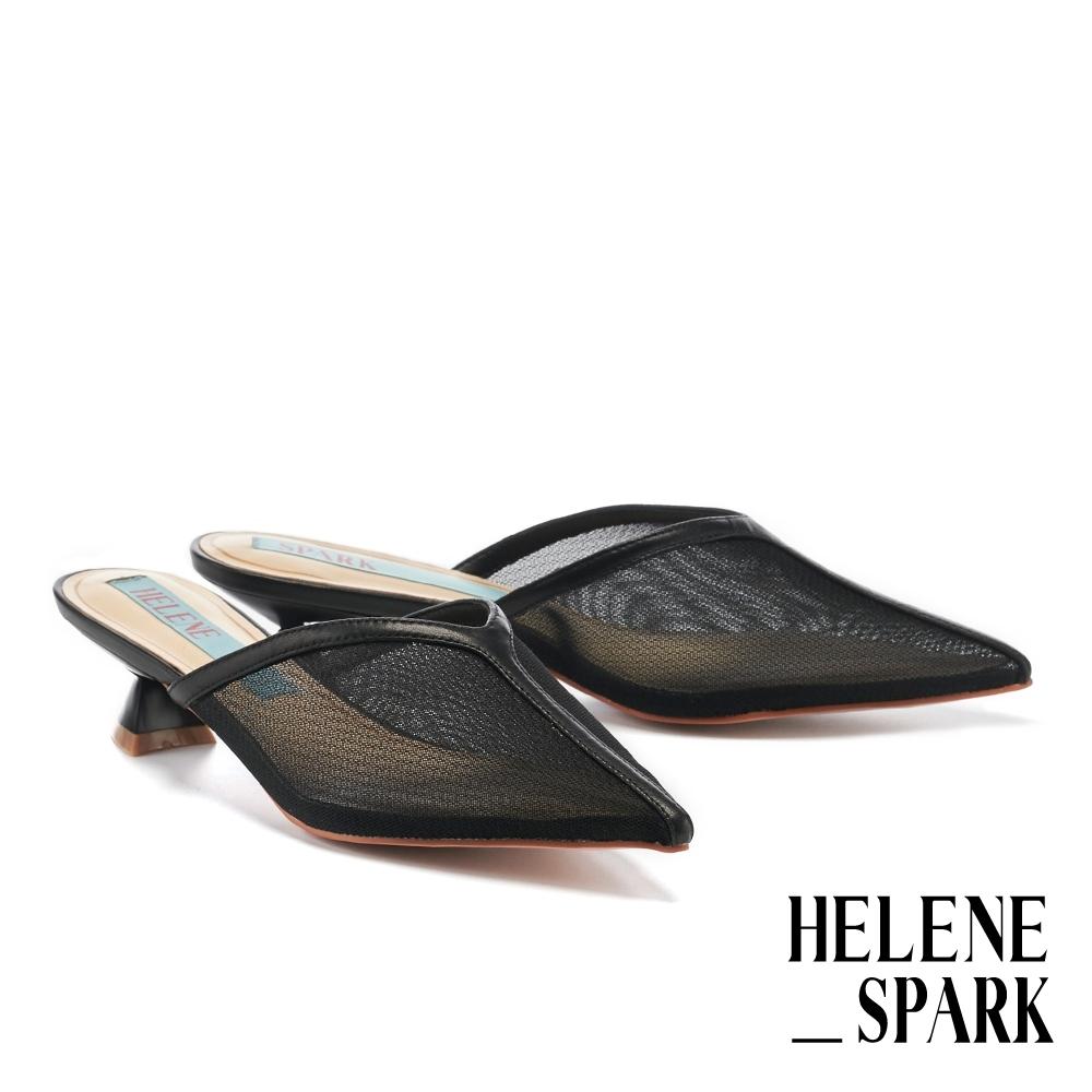穆勒鞋 HELENE SPARK 摩登時髦網紗鏈條尖頭高跟穆勒拖鞋-黑