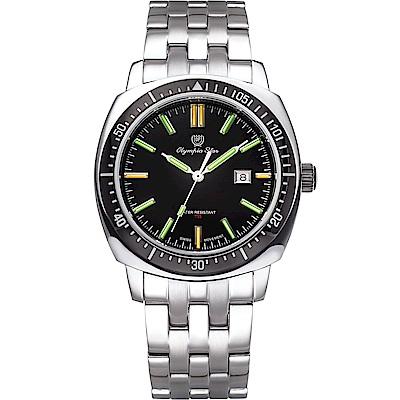 OlympiaStar 奧林比亞之星 神盾系列氚氣石英手錶(98021TGS)-黑