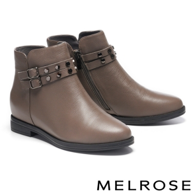短靴 MELROSE 經典率性鉚釘飾釦全真皮低跟短靴-灰咖