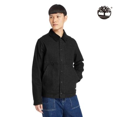 Timberland 男款黑色背面印花燈芯絨衣領牛仔外套|A2D7Z