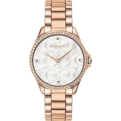COACH Modern 雙C時尚晶鑽女錶(14503072)-銀x玫塊金/38mm
