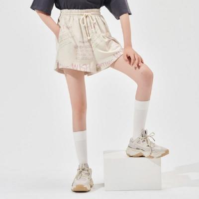 短褲 繫帶開叉印花休閒短褲RN0046-創翊韓都