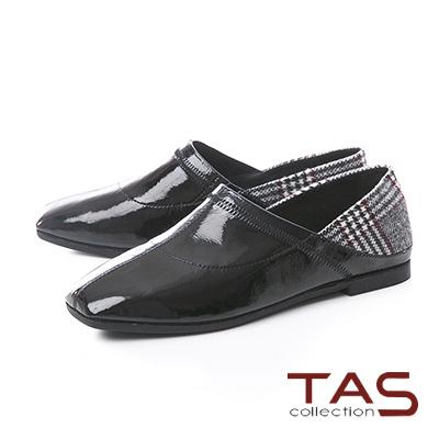 TAS質感格紋拼接漆皮後踩平底鞋-魅力黑