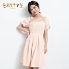 betty's貝蒂思 蕾絲拼接公主袖洋裝(淺粉橘)