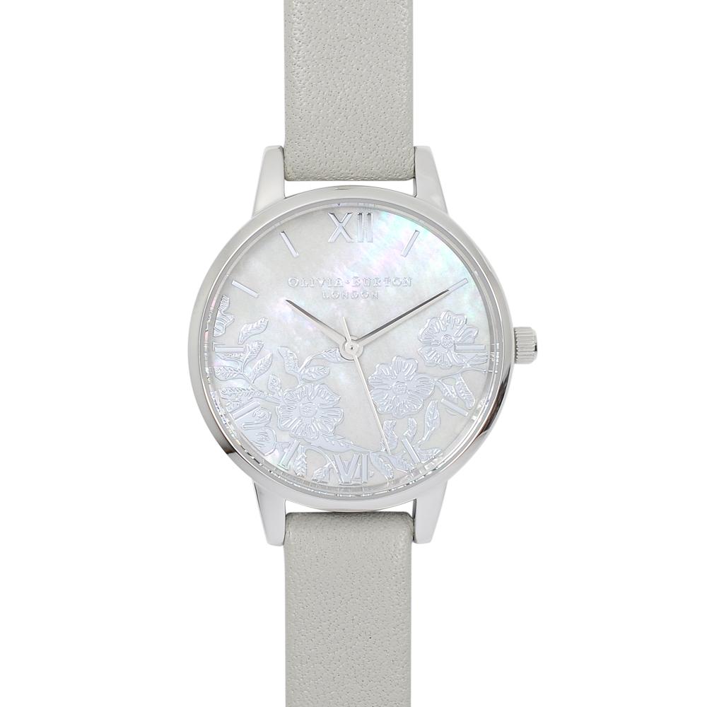 Olivia Burton 英倫復古手錶 法式蕾絲 珍珠母貝錶盤 灰色真皮錶帶銀框30mm