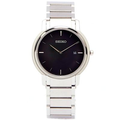 SEIKO 薄款藍寶石水晶鏡面手錶(SKP387P1)-黑/38mm