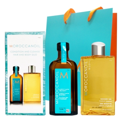 MOROCCANOIL摩洛哥優油經典禮盒組(優油125ml+沐浴膠250ml)贈紙袋