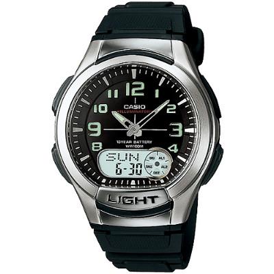 CASIO 時尚雙顯商務休閒錶-黑/膠帶(AQ-180W-1B)-41mm