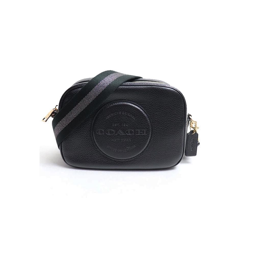 COACH 大圓標馬車皮革方形相機包(中/黑)