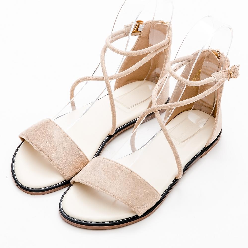 River&Moon大尺碼涼鞋 簡約交織一字細絨平底後拉鍊羅馬涼鞋 米