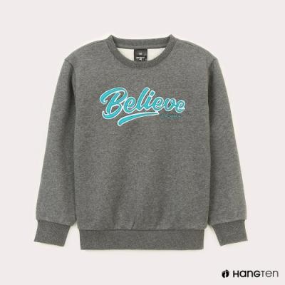 Hang Ten-男童-HOPE-內刷毛Believe繡字大學T-灰色