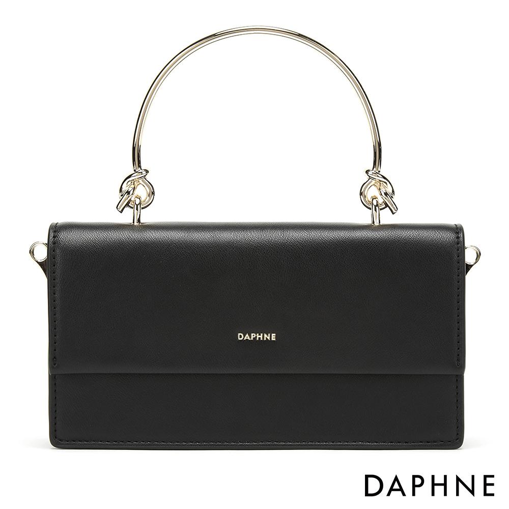 達芙妮DAPHNE-質感金屬手提鍊帶小方包-黑色