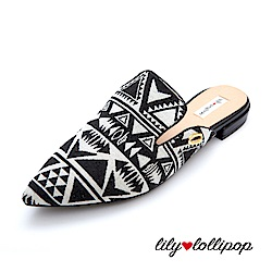 Lilylollipop Agatha尖頭穆勒綁帶平底鞋--黑白圖騰色