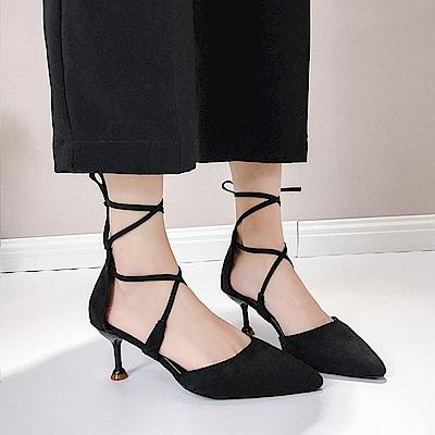 KEITH-WILL時尚鞋館 獨家秒殺樂活舒適綁帶細跟鞋-黑色