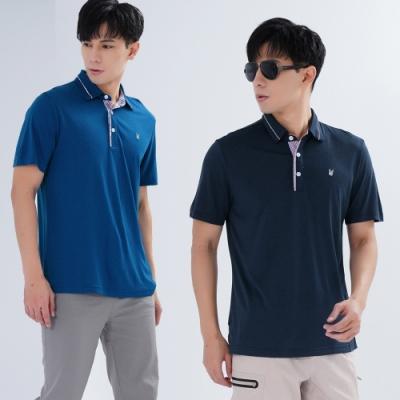 【遊遍天下】兩件組_男款抗UV格紋吸排POLO衫