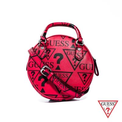 GUESS-女夾-滿版LOGO印圖肩背手提包-紅
