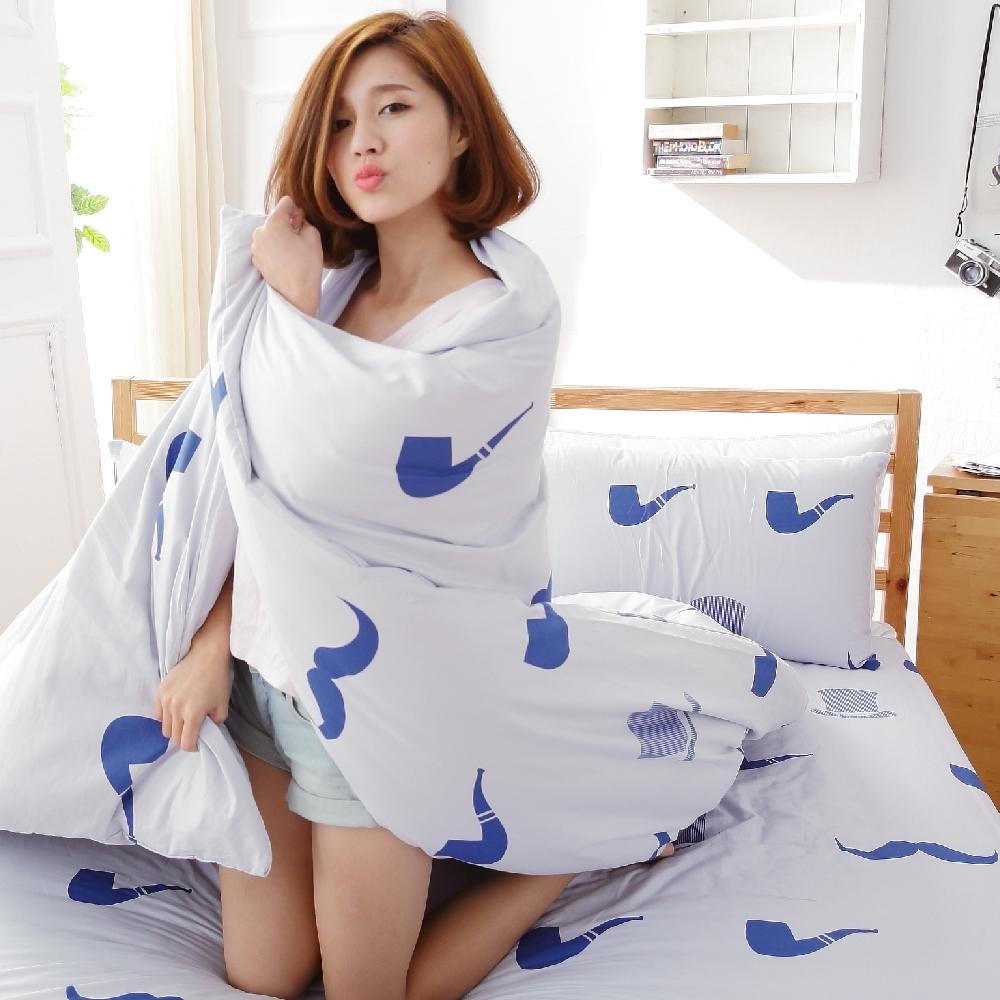 BUHO 天然嚴選純棉雙人加大三件式床包組(紳士態度)