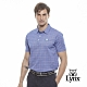 【Lynx Golf】男款吸濕排汗絲光布料格子款短袖POLO衫-藍色 product thumbnail 2