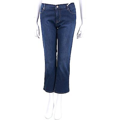 LOVE MOSCHINO 金蔥愛心口袋深藍微喇叭牛仔褲