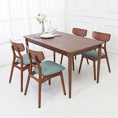 Boden-尼特4.5尺實木餐桌椅組(一桌四椅)-135x80x76cm