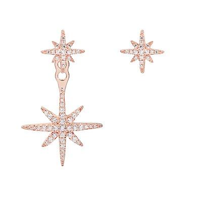 apm MONACO法國精品珠寶 玫瑰金鑲晶鑽雙繁星不對稱耳環