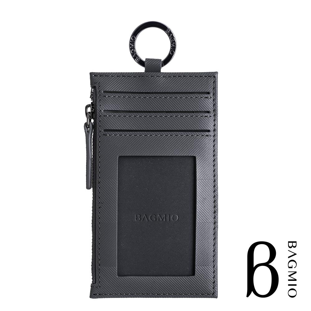 BAGMIO authentic 人字紋牛皮3卡鑰匙零錢包 深灰