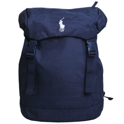 POLO Ralph Lauren 品牌LOGO圖騰刺繡尼龍雙扣後背包(深藍)