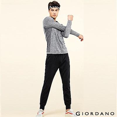 GIORDANO 男裝G-MOTION彈力磨毛運動休閒束口褲 - 09 標誌黑色