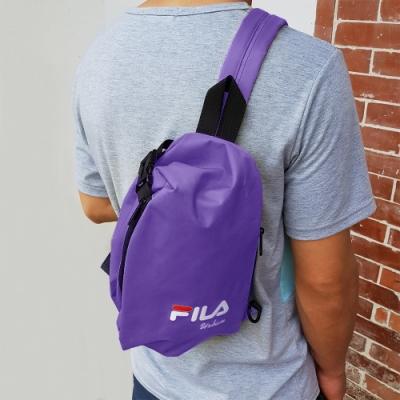 FILA 三角立體單肩包 斜背包 休閒包-紫色