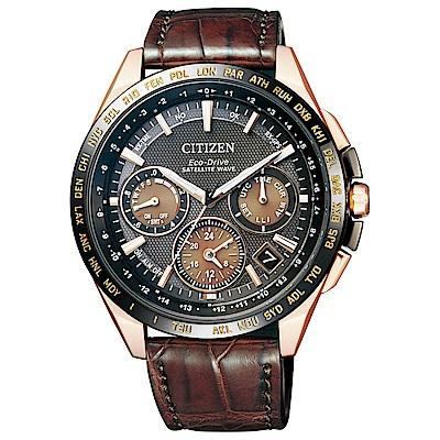 CITIZEN 星辰 限量GPS衛星對時紳士品味皮帶腕錶CC9016-01E