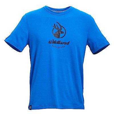 荒野【wildland】男彈性印花經典抗UV上衣寶藍