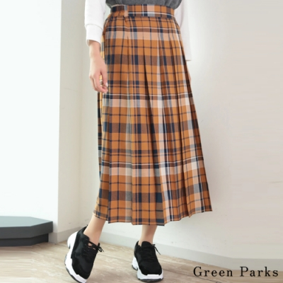 Green Parks 配色大格紋百褶裙
